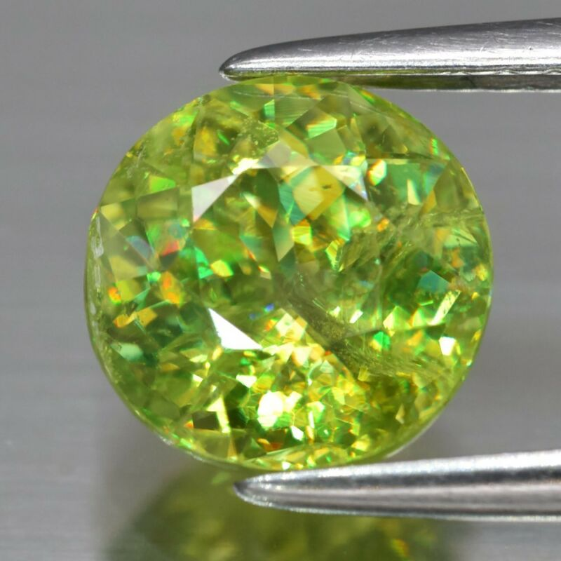 2.01ct 7.3mm Round Natural Yellowish Green Sphene, Adamantine Luster