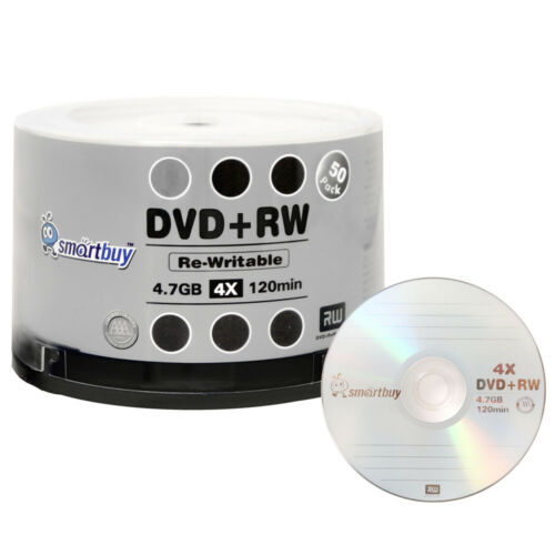 50 Pack Smartbuy Blank DVD+RW 4x 4.7GB Branded Logo Rewritable DVD Media Disc