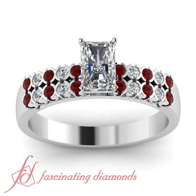 1.25 Ct Radiant Cut VVS1-F Color Diamond & Red Ruby 14K Gold Engagement Ring GIA 1