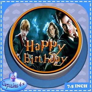 joyeux anniversaire rond harry potter g teau figurine cc6011l ebay. Black Bedroom Furniture Sets. Home Design Ideas