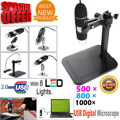 500x 800x 1000x 2mp Microscope Usb 2.0 Digital Endoscope Magnifier Camera 8 Led
