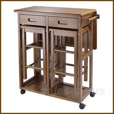Kitchen Table Chairs Set Stools Cart Island Wood Small Nook Space Saver Folding