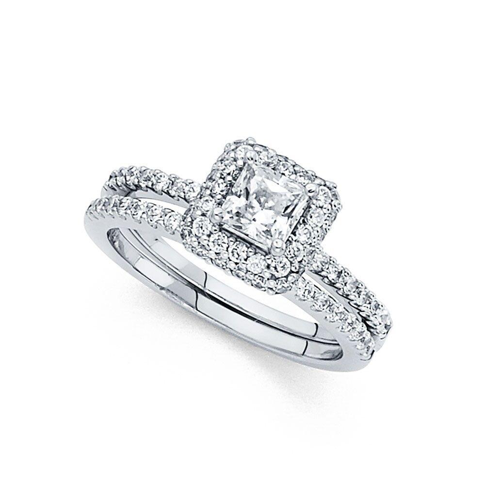 Cz Princess Halo Engagement Ring Wedding Band 14k White Gold