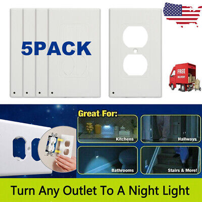 - 5 PACK Outlet Wall Plate Led Night Angle Light Guidelight Cover Built in Sensor