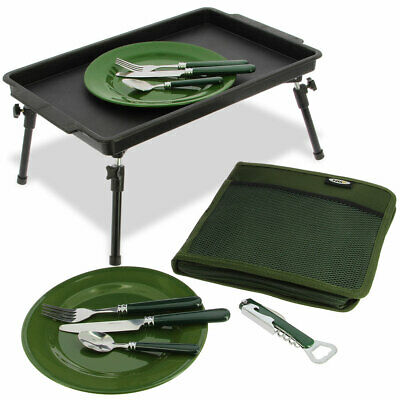NGT Fishing Cutlery Set & Bivvy Table Carp Fishing Camping With Cutlery Bag