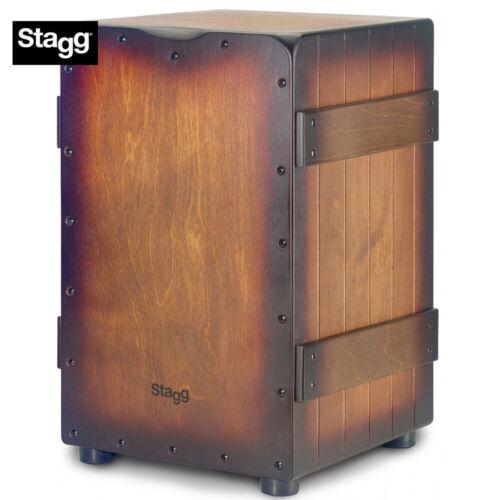 NEW Stagg Standard Size Crate Design Cajon Sunburst Brown Finish CAJ-CRATE-SBB