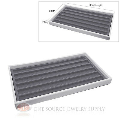 White Plastic Display Tray 6 Gray Slot Liner Insert Organizer Storage