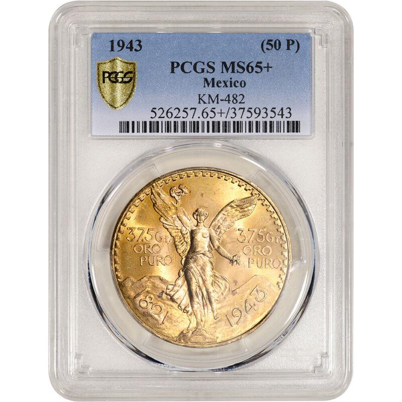 1943 Mexico Gold 50 Pesos - PCGS MS65+ KM-482
