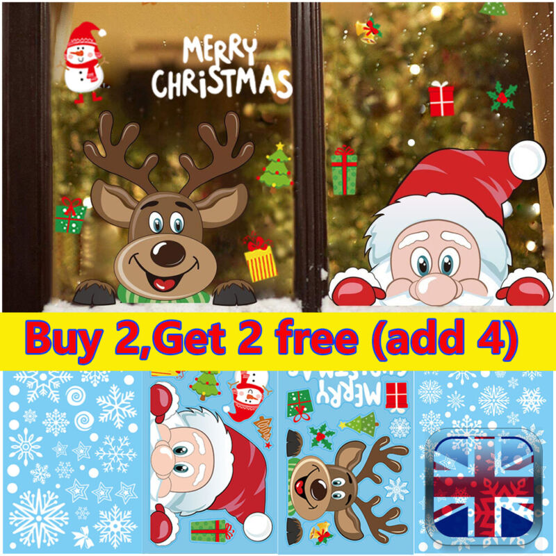 Home Decoration - Christmas Wall Stickers Wall Window Glass Home Decoration Sticker Xmas Decal~UK