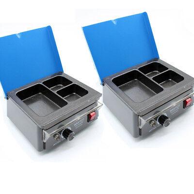 2pcs Dentist 3 Well Melting Analog Wax Heater Melter Pot For Dental Lab 110v