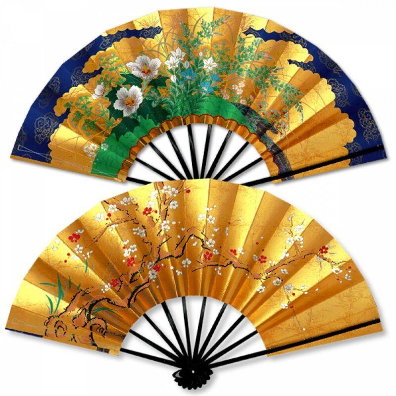 Kyoto Gold Sensu Japanese Bamboo Folding Fan Reversible Plum Fuyo Motif Japan
