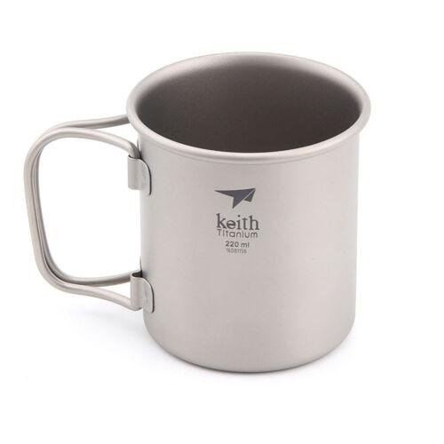 Keith 220ml-900ml Outdoor Ultralight Titanium Mug Titanium Water Cup