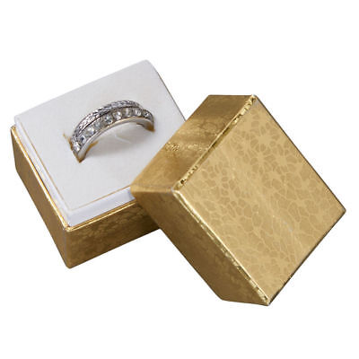 Jewelry Ring Boxes 100 Gold Foil 1 12 X 1 14 X 1 12 Cotton Insert Lidded