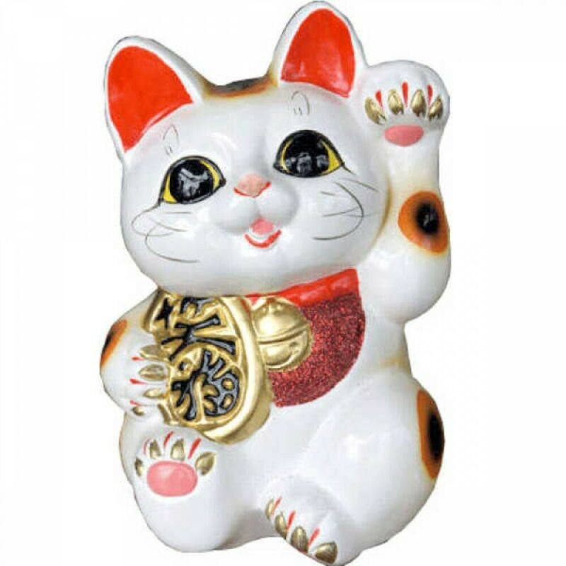 Japanese Maneki Neko Dancing Lucky Cat Tokoname Ware 23cm Japan with Tracking