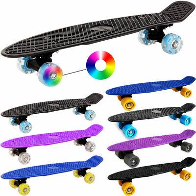 """22"""" Retro Skateboard Plastic Board Cruiser LED Light Up Wheels Deck Skater ABEC7"""