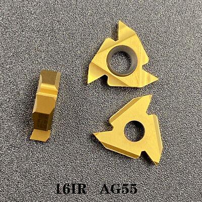 10pcs 16ir Ag55 Lathe Threading Inserts Left Thread Cutting Tool Carbide Insert