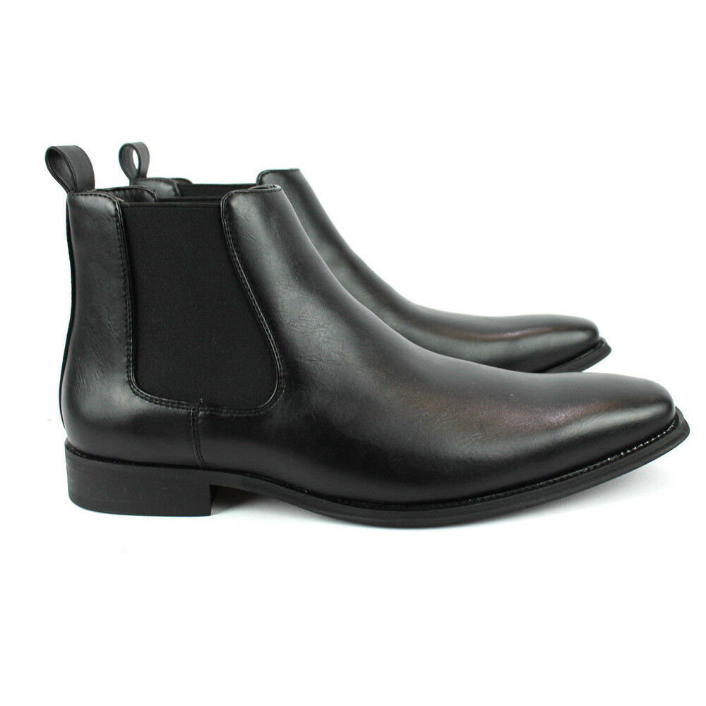 Men's Ankle Dress Boots Slip On Almond Round Toe Leather Chelsea Luciano D-510 1