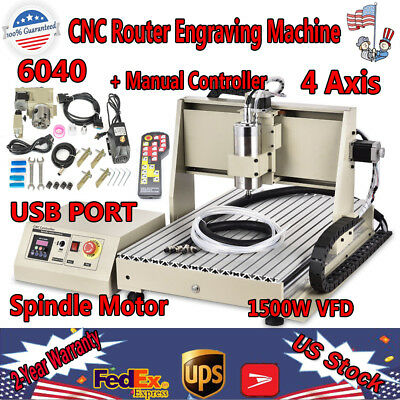 4 Axis Cnc 6040 Router Engraver 1.5kw Vfd Usb Cut Drill Mill Machine Rc Control