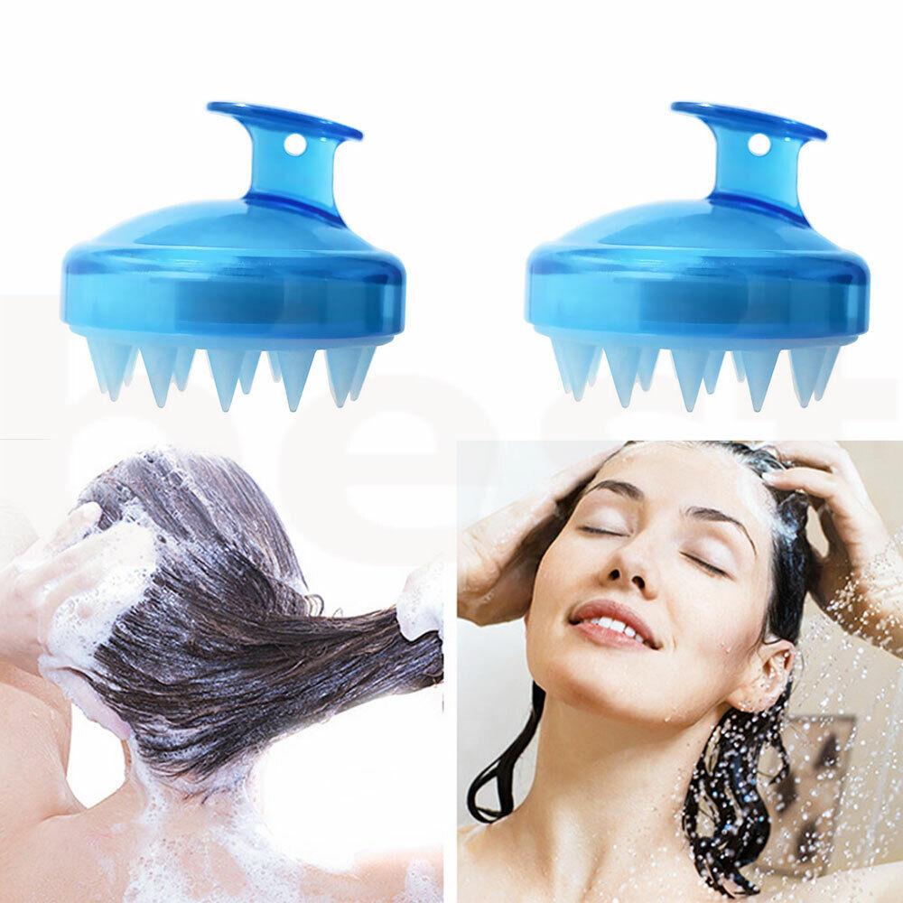 Kopfhautbürste Shampoo Massage Kamm Duschkopf Haarwasch Massagegerät Blue