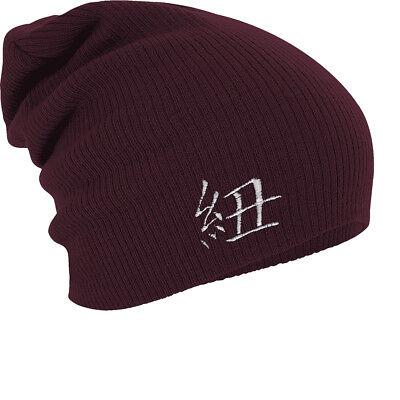 Chinesische Mütze (Long Beanie Wintermuetze Muetze Stickmotiv Chinesisches Zeichen 54549 bordeaux)