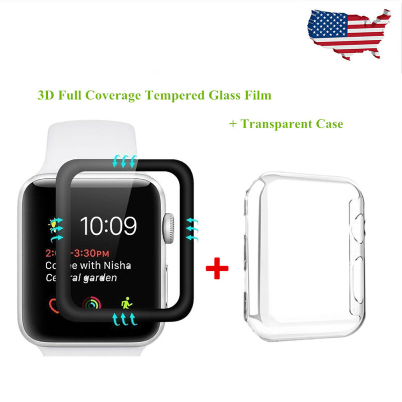 Apple Watch Series 3 / 2 / 1 Tempered Glass Screen Protector+Soft TPU Case 38mm
