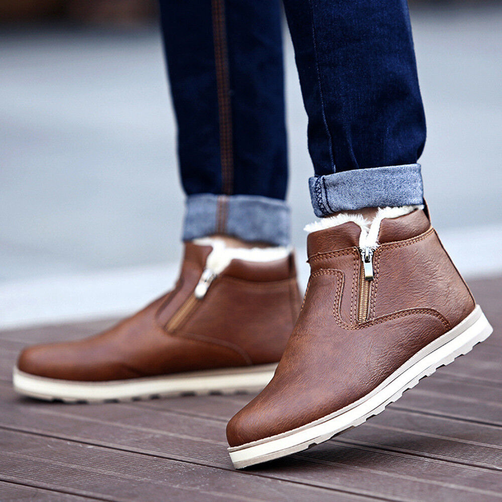 Fashion Men Winter Warm Boot Casual Leather Zipper Plush Snow Ankle Boots Shoes