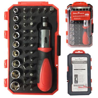 Drillforce 37 in 1 Magnetic Screwdriver Socket Set Torx Phillips Slotted Bits