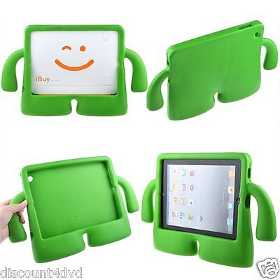 3D Kids Cute Child Soft Grip Stand Protective Cover Case for iPad 2/3/4 - Green - Soft-grip-stand