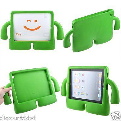 3D Kinder niedliches weicher Griff Ständer Schutzhülle für iPad 2/3/4 - grün