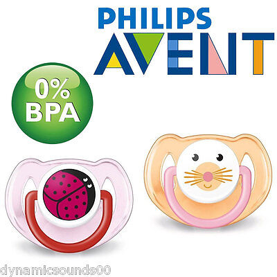 Pack of 2 Assorted Colours//Designs SCF182//34 Philips Avent Soothers 6-18 Months