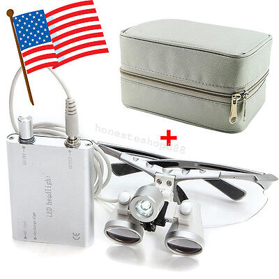 Dental Loupes 2.5x 420mm Surgical Medical Optical Glass Head Light Carry Case