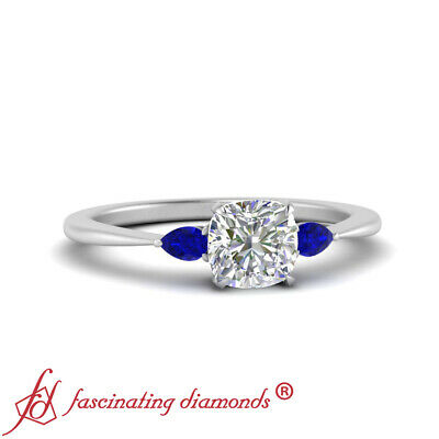 Cushion Cut Diamond & Sapphire Gemstone 3 Stone Tapered Engagement Ring 0.70 Ctw