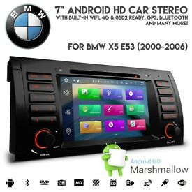 BMW E53 X5 Android 6.0 HD 1080p WiFi GPS 4G Ready Radio DVD USB SD Aux Car Stereo