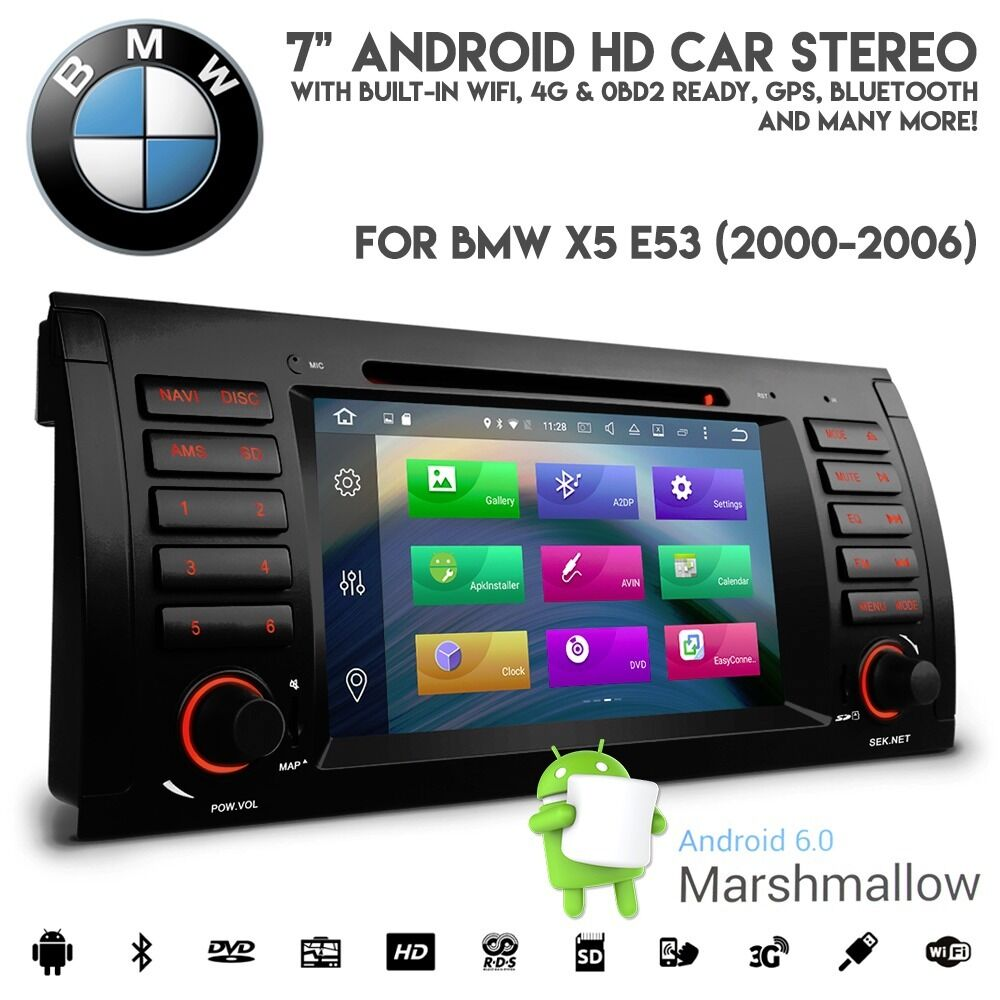 Bmw E38: BMW E53 X5 Android 6.0 HD 1080p WiFi GPS 4G Ready Radio