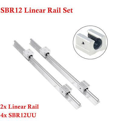 Linear Rail Sbr12 Guide Shaft Rod Set And 4x Sbr12uu Block Bearing For Cnc