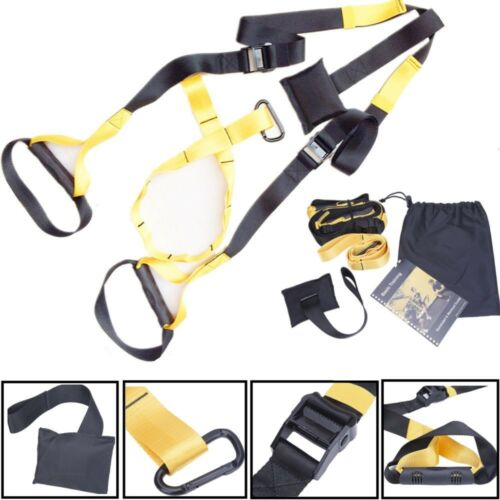 UPGRADED Home Gym Suspension Resistance Strength Training Straps Workout Trainer Fitness, Running & Yoga