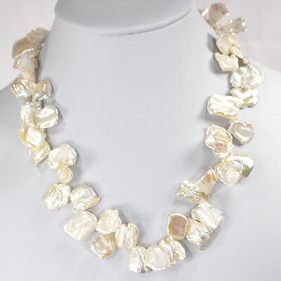Women Jewelry Natural White Keshi Pearl Beads Gold Clasp Necklace 18
