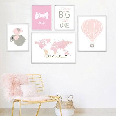 Baby Girl Room Wall Decor World Map Elephant Poster Nursery Canvas - Elephant Room Decor