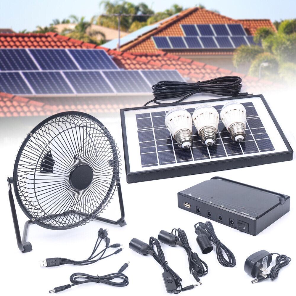 Solar Power Panel Generator Energy Storage USB Charger System Kit+3 LED Light US 1