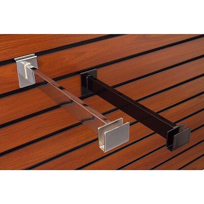 Slatwall Hangrail Brackets Rectangular In Black 12 Inch