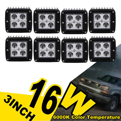 8X 3inch LED Work Light Fog Off Road Truck Motor Driving Pods Lamp For (Clear Spot Locations)