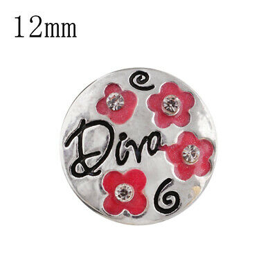 SNAP IN BUTTON CHARM FITS GINGER SNAPS STYLE JEWELRY MINI 12MM DIVA PINK #36