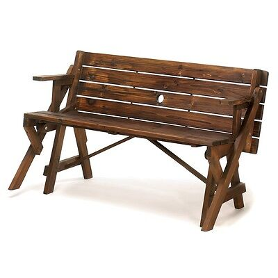 Rustic Convertible Garden Table Outdoor Furniture Picnic Wood Bench Kids Convertible Picnic Table Bench