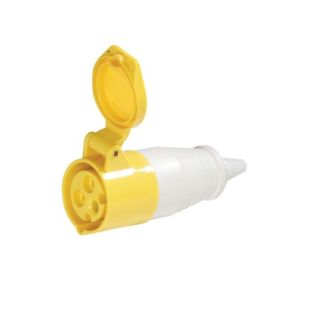 16A Yellow In-line Socket | IP44 110V 16 Amp Single Phase