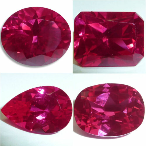 Lab Created Ruby Oval, Emerald, Pear, Cushion Faceted Loose Gems Fine Cut AAA