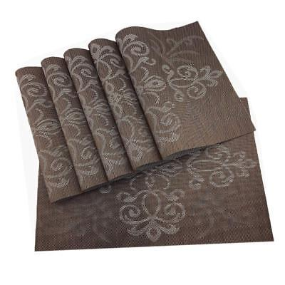 Brown Table Placemats Set of 6 Washable Weave Kitchen Place Mats (Table Settings)