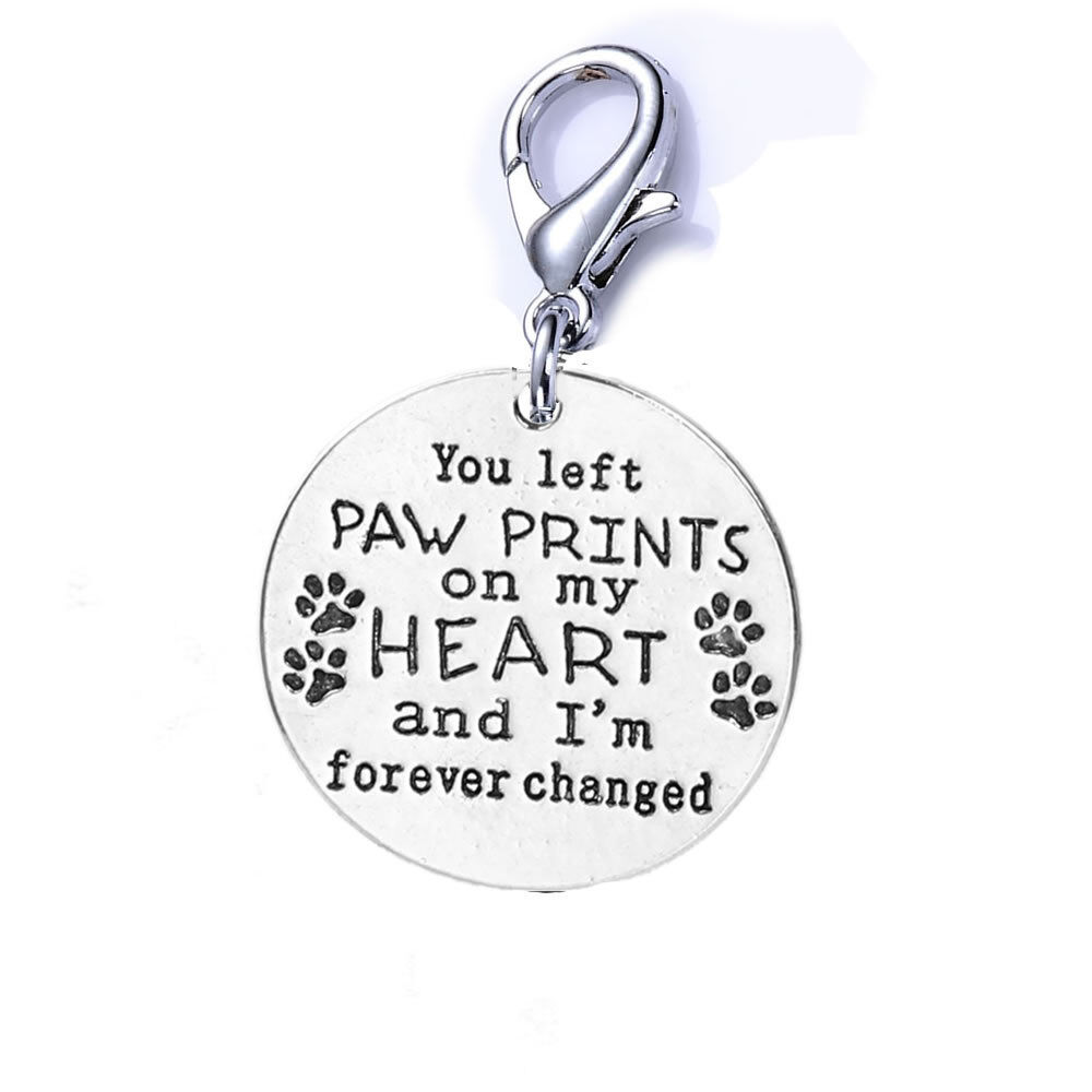 "Loss of Pet Memorial Charm Dog Cat "" You left paw prints on my heart Charms & Charm Bracelets"