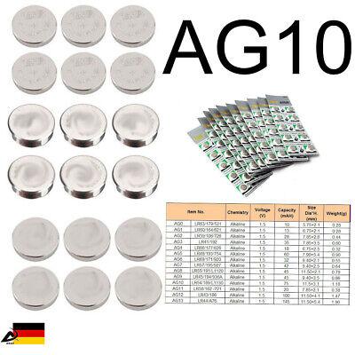 10er Blister AG10 389A CX189 LR1130W Uhr Batterie Knopfzellen Alkaline Batterie