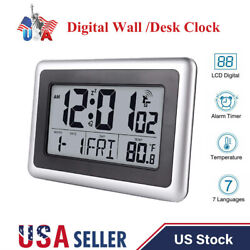 Atomic Digital Desk Hanging Wall Clock Large Lcd Display Date Indoor Temperature