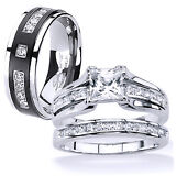 His and Hers Stainless Steel Princess Cut Wedding Ring Set Titanium Wedding Band